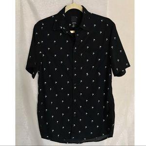 H&M Men Palm Tree Button Down Short Sleeve Shirt